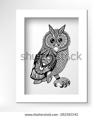 original artwork of owl  ink