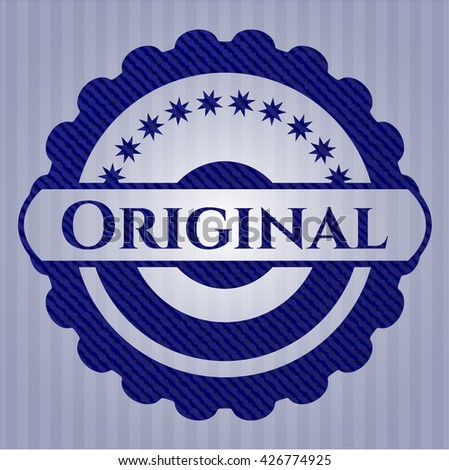 Original badge with jean texture