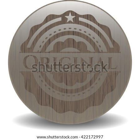 Original badge with wood background