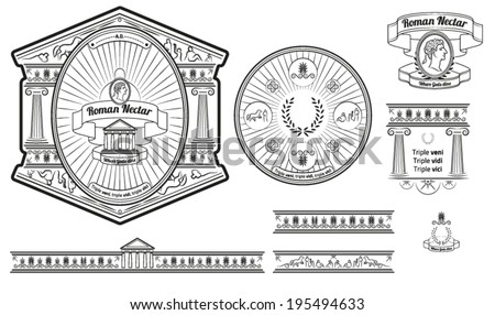 Original Beer Label And Baners Design With Ancient Roman Elements