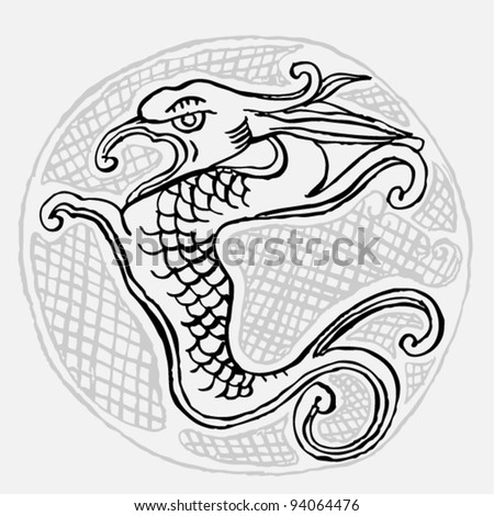 Original black and white drawing of an dragon on white background