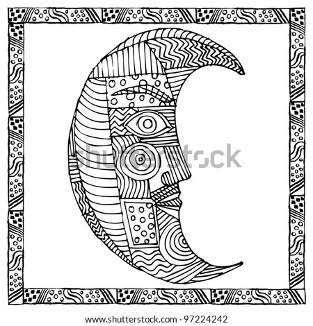 Original black and white drawing of moon - stock vector