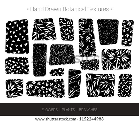 Original botanic textures, greenery backgrounds. Hand drawn vector branch, flower, stem, leaf, twig patterns. Botanical design elements for organic branding, invitation, fashion textile, floral prints