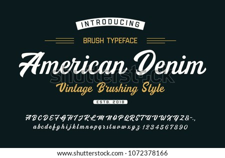 Original Brush Font. Vintage Style. Typeface. Vector