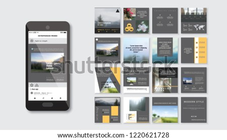 Original dark Presentation templates or corporate booklet. Easy Use in creative flyer and style info banner, trendy strategy mockups. Simple modern Slideshow or Startup. #1220621728