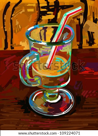 original digital painting of glass of coffee,