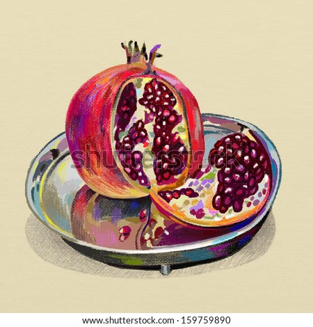 original digital painting of pomegranate on a silver dish, vector version, autotrace image