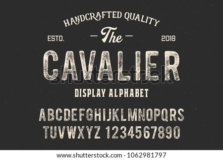 Original display alphabet. Vintage font design. Typeface