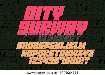 Original display font graffiti design, alphabet, letters and numbers. Swatch color control