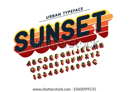 Original display font popart design, alphabet, letters and numbers. Swatch color control