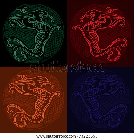 Original drawing of chinese dragon- four combinations