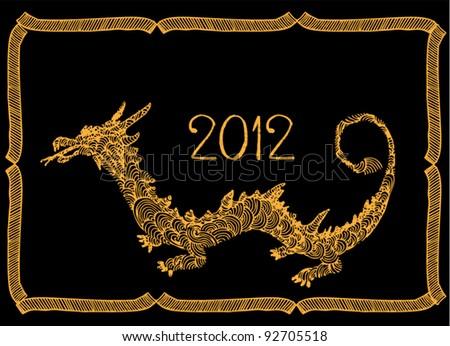 Original drawing of dragon- gold dragon on black background