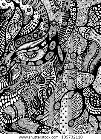 Original drawing of psychedelic face