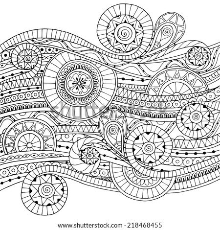 Original drawing tribal doddle ethnic pattern. Background with geometric elements. Black and white version.