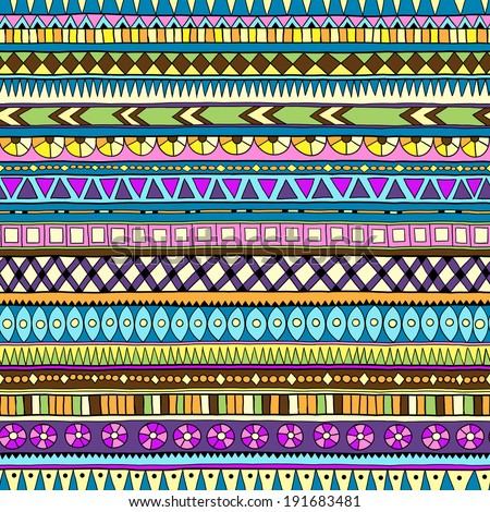 Original drawing tribal doddle ethnic pattern Seamless pattern with geometric elements