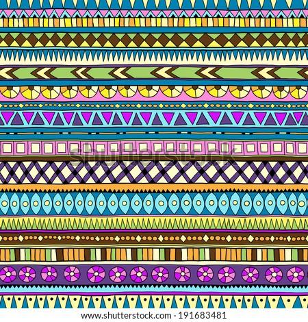 Original drawing tribal doddle ethnic pattern. Seamless pattern with geometric elements.