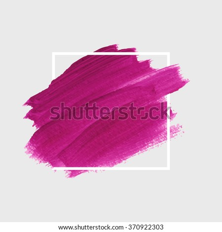 Original grunge brush paint texture design acrylic stroke poster over square frame vector. Original rough paper hand painted vector. Perfect design for headline, logo and banner.