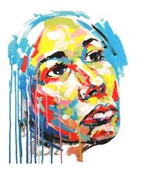 Original hand draw acrylic painting color portrait of women. Vector illustration