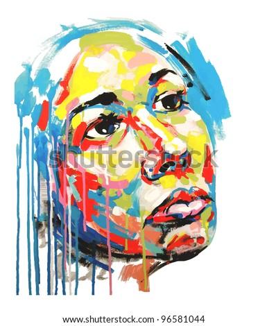 Original hand draw acrylic painting color portrait of women. Vector illustration