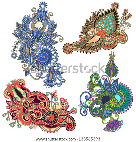 original hand draw line art ornate flower design Ukrainian traditional style Vector set