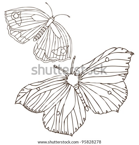 original hand drawing of butterfly-vectorized. Ideal for decoration,decorative,old,pattern,abstract,nature,insects,ornament,postcard or invitation designs
