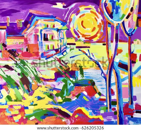 original hand painting of colorful rural landscape, contemporary art vector illustration