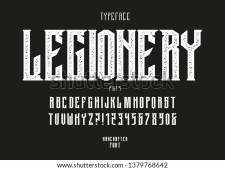 Original handcrafted alphabet. Vintage font design. Rock Typeface.  Alcohol beverage label design. In heavy music and others.