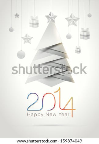 Original Happy New Year 2014 celebration greeting card with origami elements Vector illustration eps10