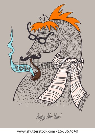 original hipster horse in glasses mustache smoking tube and the striped scarf symbol of 2014 year concept illustration merry christmas happy new year