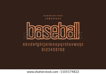 Original hollow sans serif font. Lowercase letters and numbers for logo and emblem design