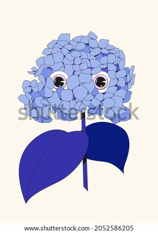 Original illustration of cosmic hydrangea flower with eyes watching you. Blue, navy trippy design. Perfect for postcards, print, stickers, tattoo, posters and branding. Spooky face Halloween drawing. Photo stock ©