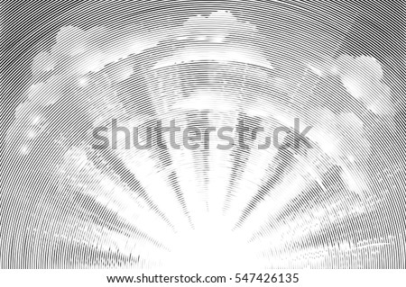 Original illustration of the sun rising with clouds in the sky in a vintage etched woodcut engraving retro style Stock photo ©
