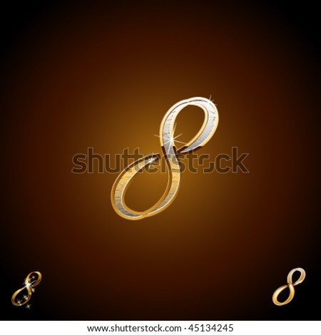 Original luxury typeface. Character 8 - stock vector
