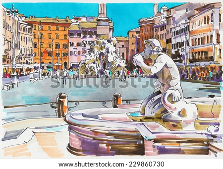 original marker painting of Rome Italy cityscape for your travel card design, architectural details of Fontana del Moro or Moro Fountain. Piazza Navona