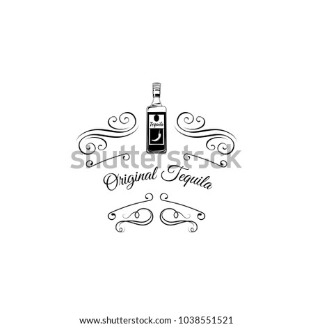 Original mexican tequila bottle with swirls, filigree elements and ornate frames. Vintage vector illustration.