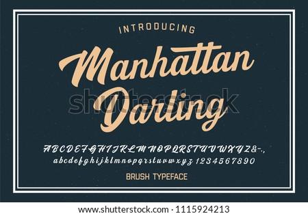 Original Modern Brush Font. Vintage Style. Typeface. Vector