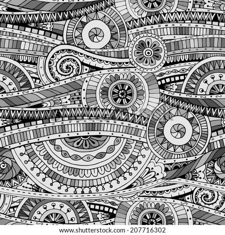 Tribal Patterns Black And White Drawing Original Mosaic Drawing Tribal