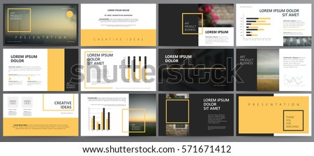 Original orange and black Presentation templates or corporate booklet.  Easy Use in creative flyer and style info banner, trendy strategy mockups.  Simple modern Slideshow or Startup. ppt.
