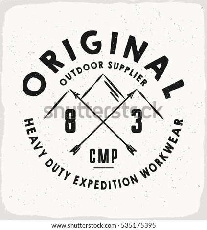 Original Outdoor print for t-shirt or apparel. Retro artwork for fashion and printing. Old school vector graphic with adventure theme and typography. Vintage effects are easily removable.