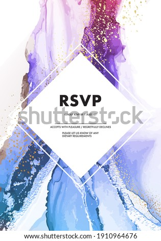 Original painting resin art, acrylic ink flow, contrast watercolor flow. Aquarelle bright blue violet contemporary background. Gouache graphics in vector