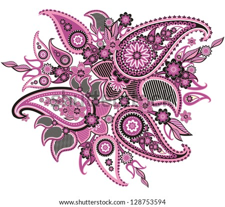 original pattern based on traditional Asian elements Paisley - stock vector