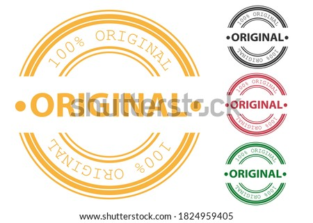 Original rubber stamp and certified quality rubber seal stamps set. Original round isolated sign original seal. Vector illustration Foto stock ©