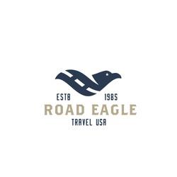 Original Simple Minimal Symbol Composed of Eagle & Road Image. Memorable Visual Metaphor. Represents the Concept of Travel, Adventure, Tourism, Freedom, USA, America, Journey, Speed, Flight etc.