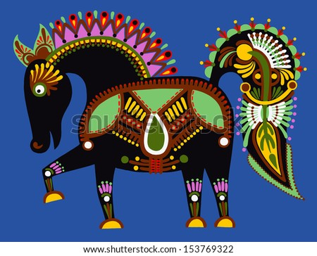 original ukrainian tribal animal painting, decorative horse