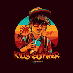 Original vector illustration. A boy-child in a baseball cap, dark glasses, holding a glass of juice in his hand against the background of a summer sunset, the sea and palm trees with a flying plane.