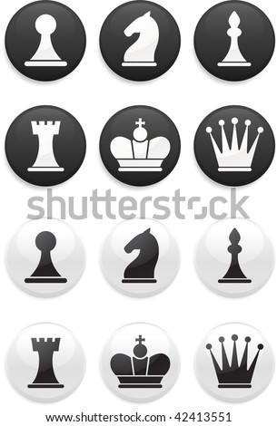 Original vector illustration: black and white Chess set on round buttons