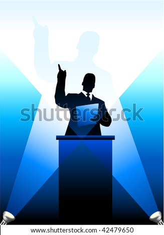 Original Vector Illustration: Business/political speaker silhouette behind a podium  File is AI8 compatible