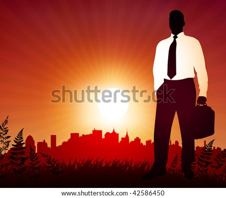 Original Vector Illustration: Businessman on sunset background with skyline AI8 compatible