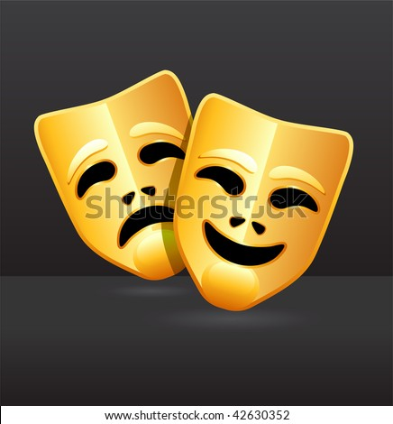 Original Vector Illustration: Comedy and tragedy theater masks AI8 compatible - stock vector