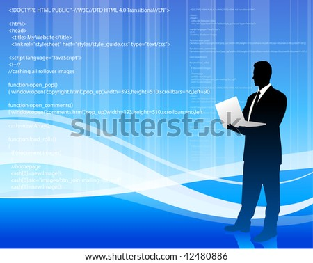 Original Vector Illustration:  computer programmer on blue wave internet background File is AI8 compatible
